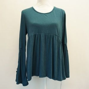 Style & Co Lace Trim Babydoll Top Shirt Teal